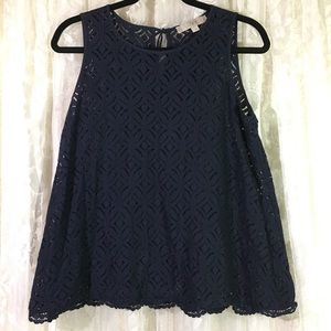 Ann Taylor LOFT Blue Eyelet Sleeveless Blouse
